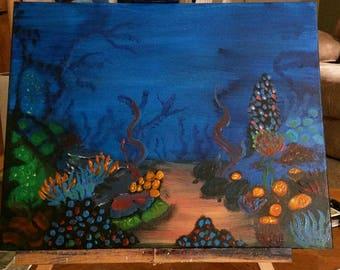 Coral reef at night