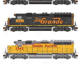Digital Art Print - EMD GP40 Locomotive - Union Pacific 1342 - History