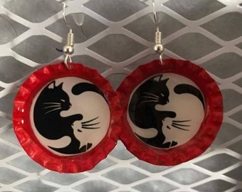 Yin Yang Cat Bottle Cap Earrings