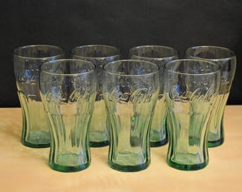 "Set of 7 Vintage Libbey Green Glass Coca Cola 16 oz Glasses, 6"" Coke Embossed Raised Letters"