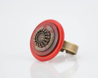 Vintage ring buttons old vermilion patterns flowers #1433