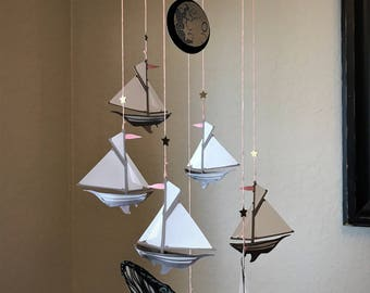 Sailboat, Moon & Whale Mobile