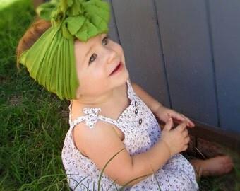 Avocado Green Ruffle Messy Bow Headband