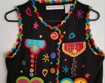 WEARABLE ART, rare vest, vintage 1994 Michael Simon, exquisitely embroidered, colorful, bright, Christmas sweater, hearts, pockets, funky