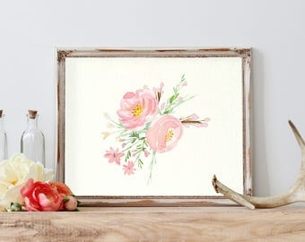Pink flowers print, Printable flowers, Watercolor flowers print, Flowers poster, Floral wall art, Shabby Chic Home Decor, Pink wall decor