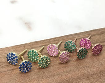 Dainty Pave Earrings•Sterling Silvers•Pave Disc•Stud Earrings•Sterling Silver•Cubic Zirconia•Dainty•CZ Diamond•Hypoallergenic•Silver Jewelry