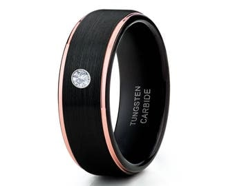 Black Tungsten Wedding Band White Diamond Wedding Band Rose Gold Tungsten Wedding Band Men & Women Comfort Fit Ring