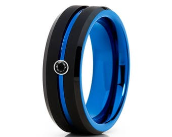 Blue Tungsten Wedding Band Black Diamond Wedding Ring Tungsten Carbide Ring Anniversary Band Men & Women Blue Tungsten Band