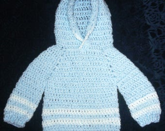 Crocheted Baby Hoodie in Blue with White Stripes.  Soft, Loose Weave, 9 month sizing