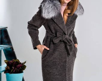 Wool Coat with Silver Fox collar