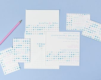Love Hearts Blue & White RSVP