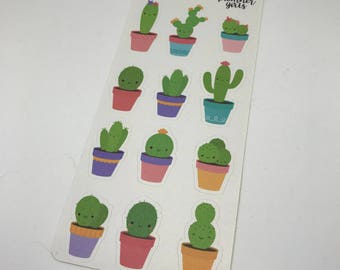 Cactus stickers, cute cacti stickers, planner stickers, deco stickers, kawaii stickers, kawaii cactus, kawaii planner stickers, fun planner