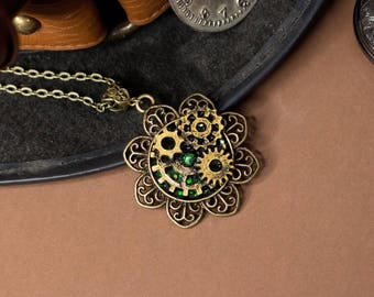 Green Roosevelt's Machine - Bronze Steampunk Necklace, Victorian Flower Pendant, Black and Green Base and Gold Gears, Valentine's Day Gift