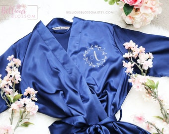 Monogrammed Satin Robes, Bridesmaid Robes, Glitter Robes, Wedding Gift, Personalized Robes, Bride Robe, Bridesmaid Gifts, Navy Robes