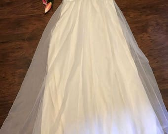 Shadowlite-vintage wedding nightgown with coverup-white lace chiffon-long with silk trim-small
