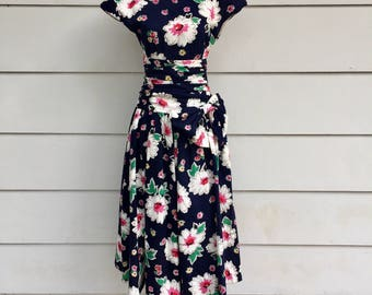 Vintage 80s does 50s Floral Garden Party Dress by Patty O'Neil