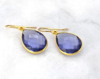 Blue Drop Earrings - Gold Earrings - Sterling Silver Dangle Drop Earrings - Bridesmaid Gift Idea