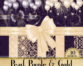 Luxury Pearl,Purple,Gold Glitter Kit 30,Ballon,Bow,Sparkle Light,PNG Clipart,Luxury Clip Arts,Luxury,scrapbook kits for commercial use