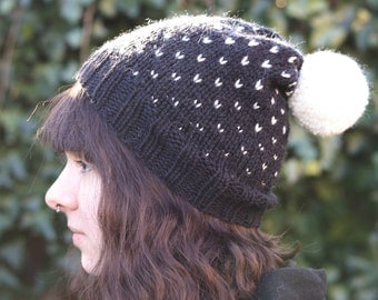 Hand Knit Winter Hat, Pom pom Fair Isle Beanie, Slouchy Hand Made Hat