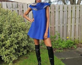 FOLKSHELF African Print Rolled Neck Denim Flared Mini Dress