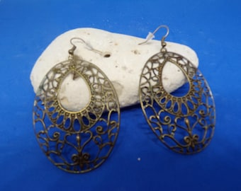 Bronze earrings with prints