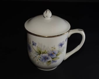 Sadler, Windsor, Fine Porcelain, Pansy pattern Lidded Tea Mug, floral, bouquet, purple, gold trim, vintage
