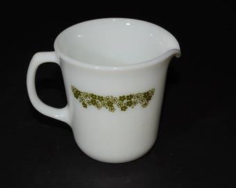 PYREX, Spring Blossom, Green, 'Crazy Daisy', Creamer, Milk glass, Vintage, 1970, vintage Pyrex, mint
