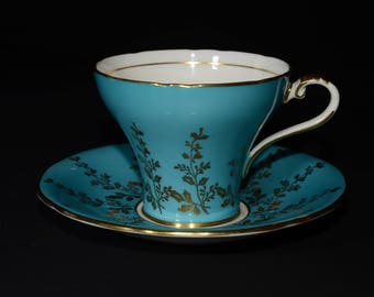 AYNSLEY, Vintage, Blue, Teacup and Saucer, Corset shape,  Blue Tea Cup, Gold floral, Bone China, Gold Rimmed, England, floral design, 1960s