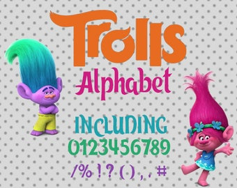 Trolls font, Font Svg, Trolls alphabet, Silhouette studio, Trolls svg, Cricut, font svg, Trolls cricut, Svg files, Trolls font SVG