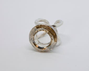 Silver ring with swarovski crystals