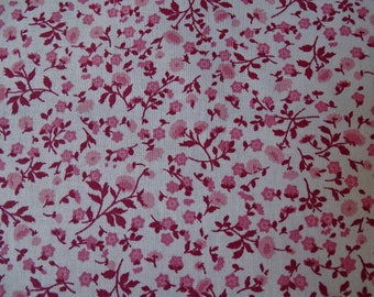 Small pink floral print cotton fabric