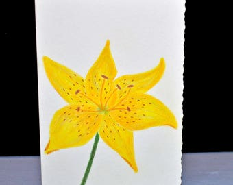 Hand Painted Lily Greeting Card