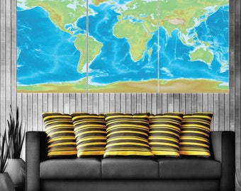 World Map Art on Canvas | Extra Large | Framed Art | Ready to Hang | Multiple Sizes | Large Wall Art | Canvas Art | Living Room Decor | Offi