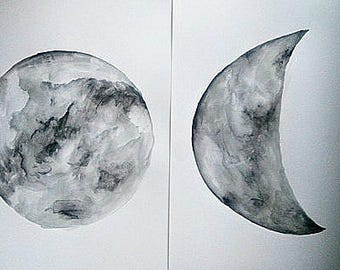 Set of 2 Original Watercolor Moon Paintings on A3 paper Moon Wall Art