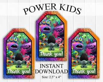 INSTANT DOWNLOAD Trolls Thank You Tags, Favor Tags, Party Favors, Printable DIY