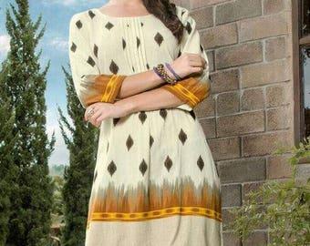 "INDIAN KURTI / KURTA | All Cotton Kurti/ Kurta/ Tunic/ Top/ Blouse, Size L(40""),  Ikkat,  Ethnic, Chic, Indian Ethnic wear"