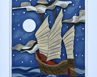 "Sailing At Night - Quilling Wall Art Painting - 1/8""(3mm) paper strips"