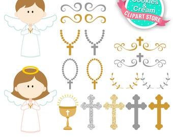 Angel First Communion Clipart, Catholic Baptism, First Communion Digital Clip Art, Instant Download, Angel Communion, Confirmation