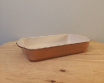 Vintage and rare Fire King Copper Tint Ovenware 1 1/2 Quart- Great Casserole or Brownie Pan - Anchor Hocking - Mid Century Cookware