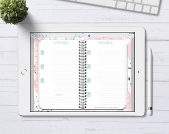 Digital Planner for GoodNotes, Undated Horizontal Weekly Pastel Planner, Digital Planner with linked tabs, iPad Planner, iPad Pro Planner