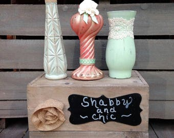 Shabby Chic Mint and Coral Painted Vase Wedding Centerpiece