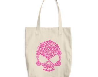Pink Hibiscus Floral Skull Cotton Tote Bag