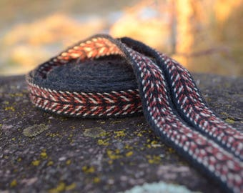 Card weaving braid / Belt for reenactment / Ethnic style strap / Medieval accessorie / Viking reenactment / Red black white / 22 mm strap /
