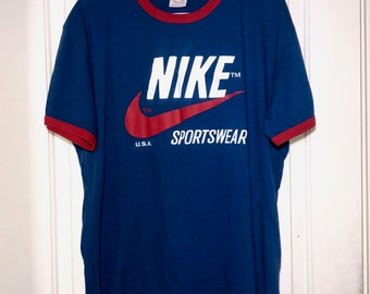 90s Nike USA Blue/Red Ringer Tee Adult Size XL