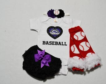 colorado rockies baby girl outfit - baby girl colorado rockies outfit - girls colorado rockies baseball outfit - rockies baby girl gift
