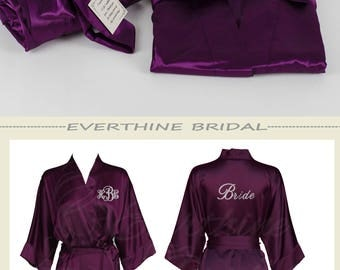 Plum bridesmaid robes, plain satin robe, monogrammed robes, personalized bachlorette gifts, eggplant robes, maid of honor robes, CS01