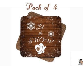 Coasters, Rustic Cork Coasters, Rustic Coaster Set, Christmas Gift, Christmas Coaster Set, Let It Snow, Coaster Set of 4 Christmas Coasters