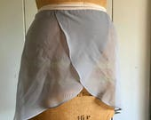 Women's ballet wrap skirt in gray chiffon and gray crepe georgette