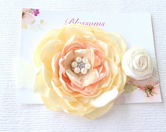 Baby Girl Headband, Ivory Baby Headband, Flower Girl Headband, Wedding Flower Headband, First Birthday HeadBand, Cake Smash HeadBand