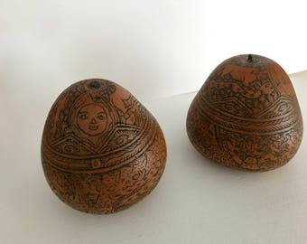 Set of 2 - Hand Carved Engraved Peruvian Gourds - Sun, Moon & Village Design
